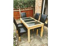 Solid Wood Dining Table with Granite Inserts and Chairs
