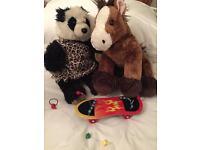Build A Bear a Panda, Horse, skateboard and earphone