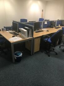Nearly New Office Desks and Chairs with Dividers and Pedestals