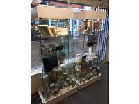 2x Glass Display Cabinets