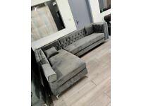 🔵💖🔴LUXURY AND COMFORT🔵💖🔴Florence sofa-plush velvet left/right hand corner sofa-in grey color⭐️