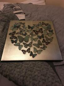 Large Silver Butterfly/Heart Print