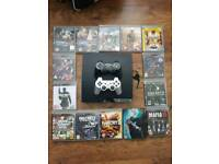 Ps3 with headset + 2 controllers + steering wheel/pedal + 14 games