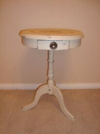 Shabby Chic Side/ Wine Drum Table painted in Annie Sloan 'Old Ochre'