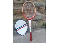 Vintage Retro Wooden Wood Crown Tennis Racket Rackett Red White Blue Old with Cover Fancy Dress Prop