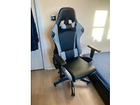 Ergonomic Gaming Chair Faux Leather Executive Racing Chair with Recline & Lumbar Support Cushions