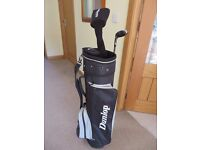 Dunlop Golf Bag and three clubs