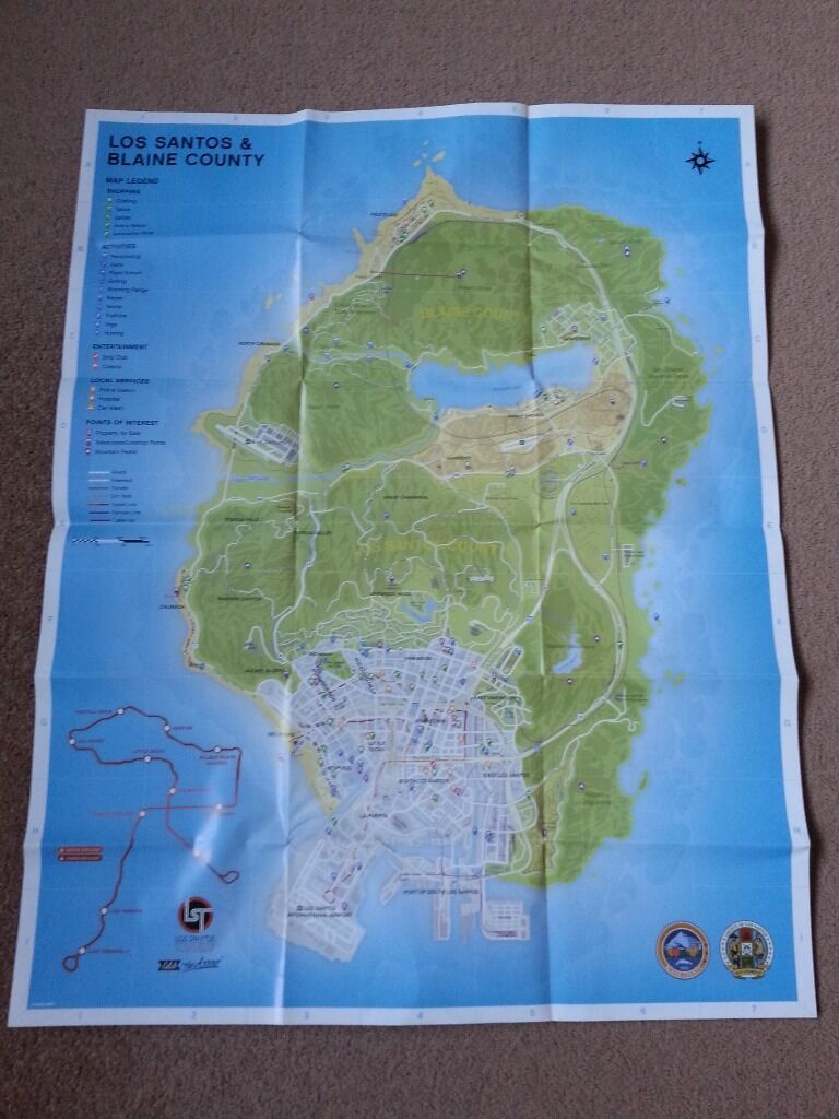 EXCELLENT GTA 5 Los Santos Map Poster MINT CONDITION  : 86 from www.gumtree.com size 768 x 1024 jpeg 108kB
