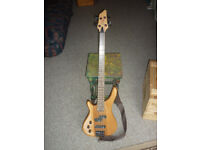 Left-hand Bass Guitar by Stagg, with White Horse BP80 bass amp, strap and lead and tutor with CD.