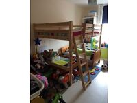 Solid wood Double Loft Bed + memory foam Mattress only used twice