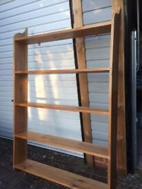 Large solid pine wall-hung bookcase