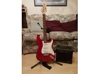 Strat style guitar and practice amp