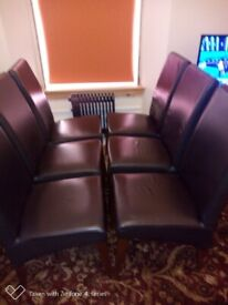 Six Chocolate Brown Leather Dining Chairs