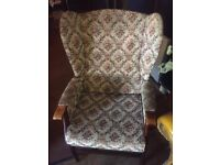 2 floral patterned armchairs