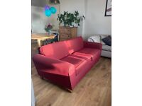 Vintage Marks & Spencer 'St Michaels' Large 2 Seater Sofa in maroon red colour