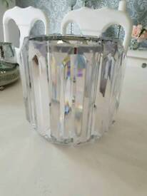 Cylinder Prism Crystal Glass Diamante Ceiling Table Lamp Shade