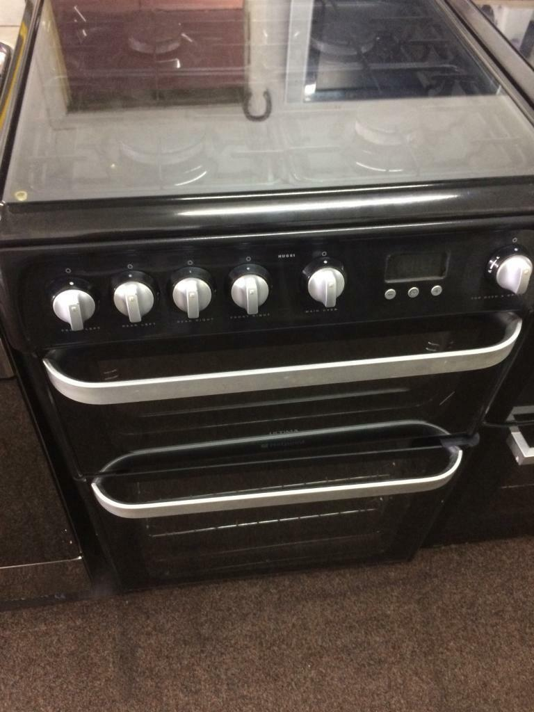Black Hotpoint 60cm gas cooker grill & double ovens with guarantee bargain