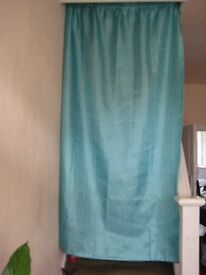 Four Identical Brand New Shimmering Turquoise-Colour Curtains - 2 for £10 or 4 for £18.00