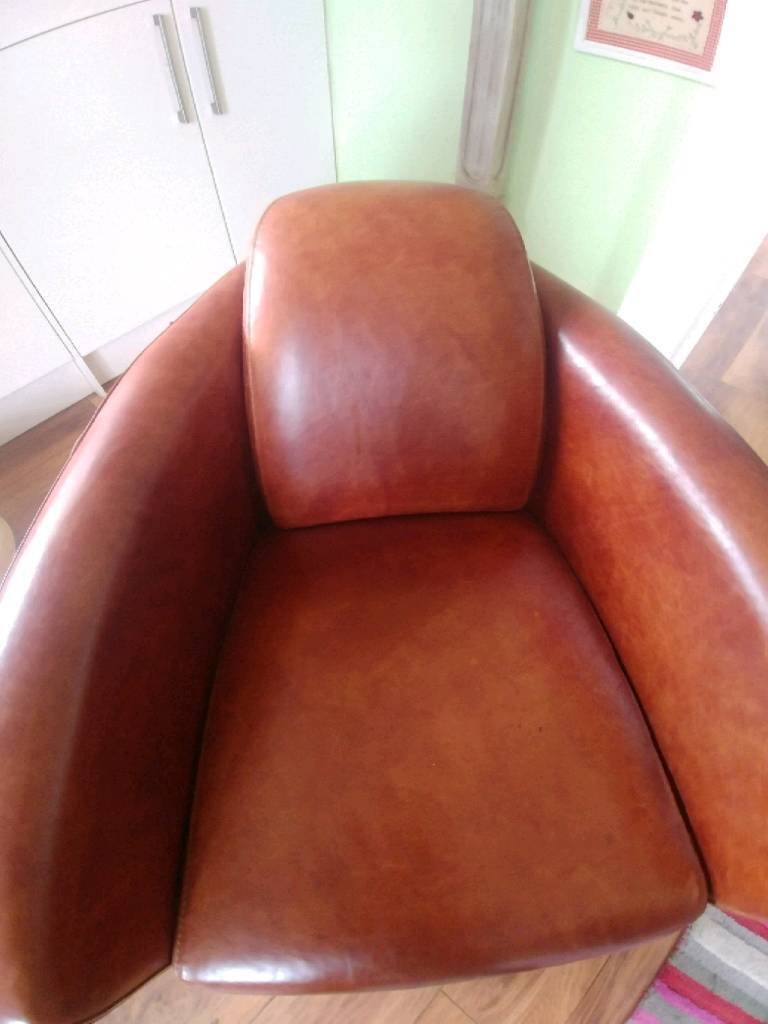 Surprising Brown Tan Leather Club Tub Unusual Expensive Swivel Chairs Chair In Redcar North Yorkshire Gumtree Machost Co Dining Chair Design Ideas Machostcouk
