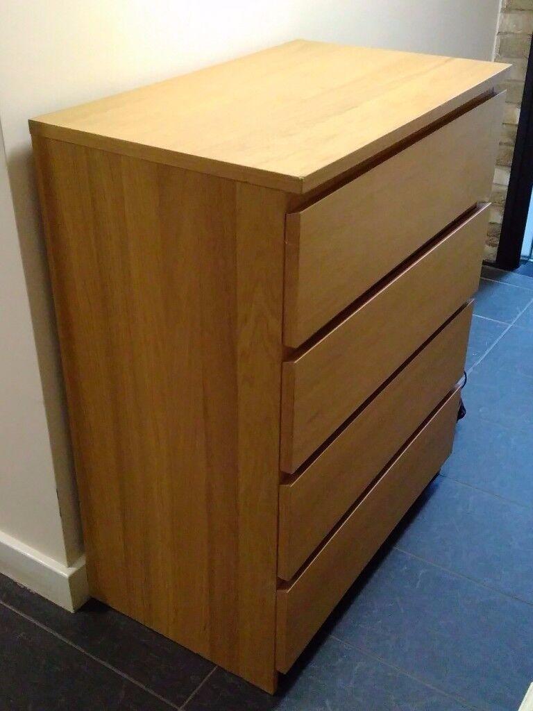 Chest of 4 Drawers - Ikea Malmo Oak Veneer