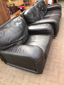 Genuine Leather sofa & chair, well built & v. comfortable