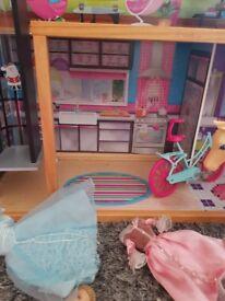 Big wooden barbie house