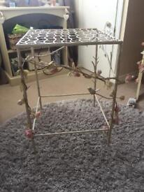 Unusual shabby chic metal table with birds