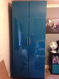 IKEA PAX wardrobe, Stunning Teal Gloss Finish, VGC
