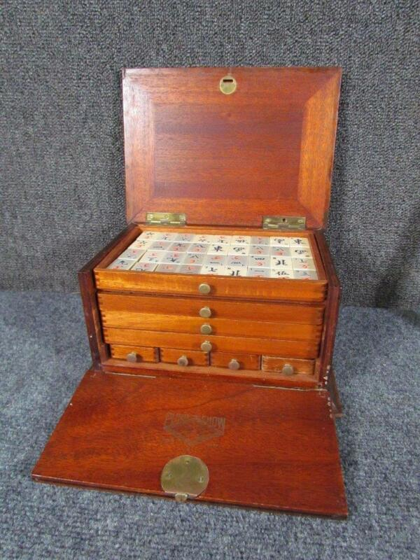 ANTIQUE signed PUNG CHOW celluloid CHINESE MAHJONG GAME SET, 148PCS