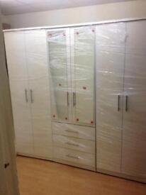 WHITE WARDROBE WITH MIRRORS (ready assembled)