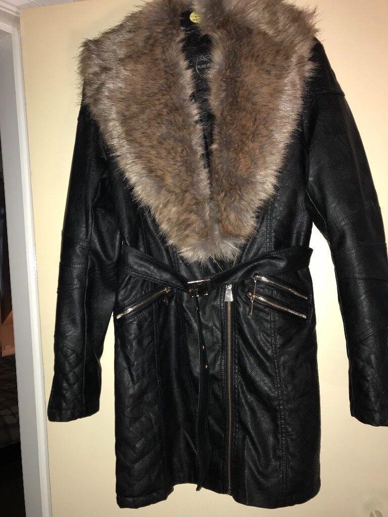 Ladies black leather look jacket 3/4 length brand new