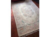 Large Chinese pink & beige flower patterned rug 200cmx300cm - £90 ono