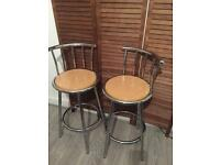 Two high bar chairs stools