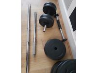 Barbell and dumbell weights set