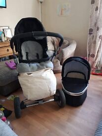 Baby Elegance Neyo Travel System including carry cot and rare colour Ivory/Cream Footmuff