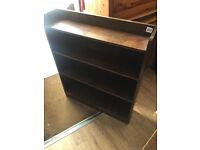 Oak Narrow Bookcase , with 4 shelves . Size L 31in W 8in H 36in
