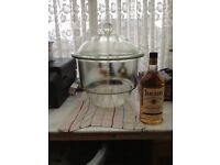 Very large glass jar with lid a ground matched pair