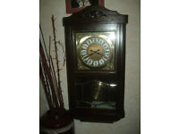 German wall clock, vintage, antique wall clock with Westminster chime