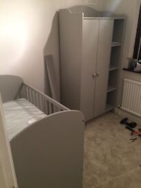 Children's Grey Wardrobe, Chest of Drawer/Changing table, Cot