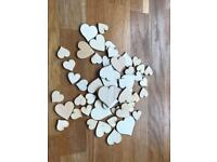 Approximately 40 wooden hearts - wedding or home decoration
