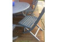 Urban grey renovated wooden garden table and 6 chairs