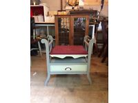 Lovely refurbished Victorian piano stool. Grey (shades) and Crimson upholstery