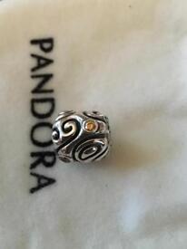 Genuine pandora charm with yellow crystal stones Hallmarked 925 ale