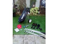 FULL SET DONNAY PRO ONE GOLF CLUBS + DONNAY GOLF BAG + TROLLEY + BALLS & TEES + BRAND NEW KANGOL CAP