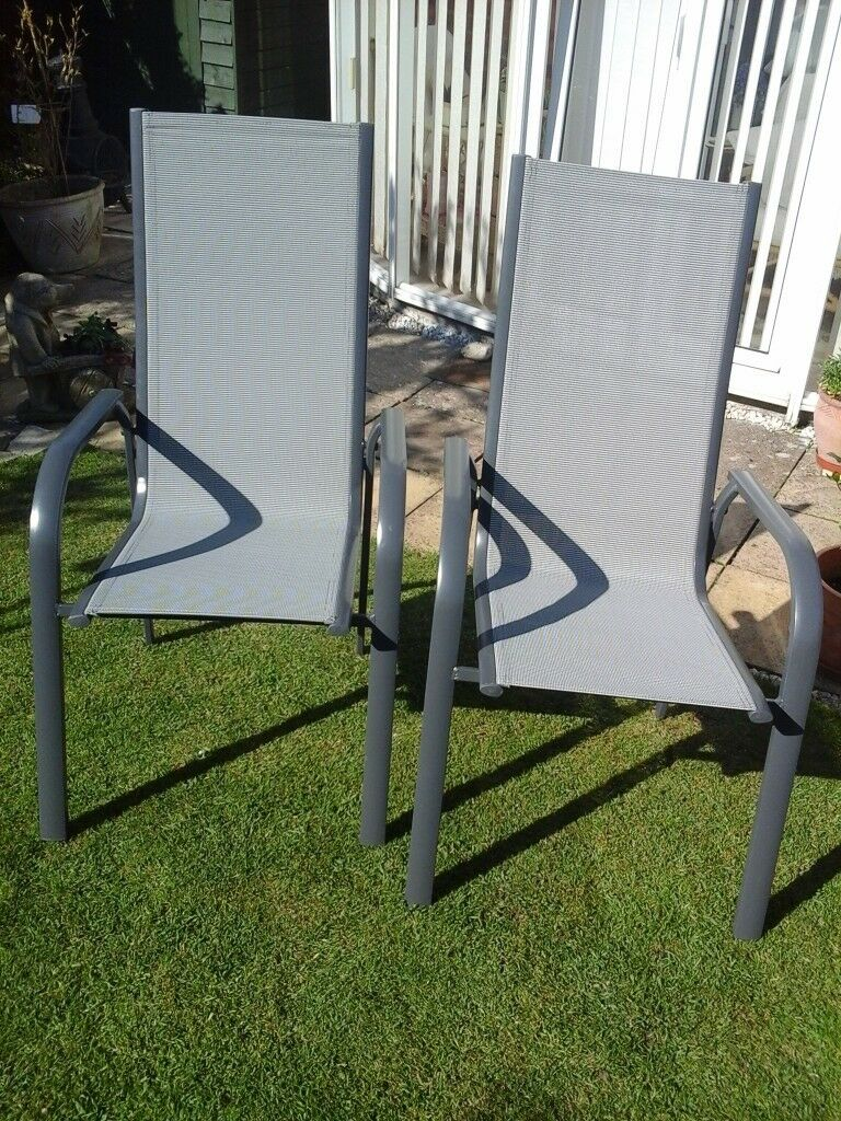 garden chairs high back grey mesh unwanted gift in highworth