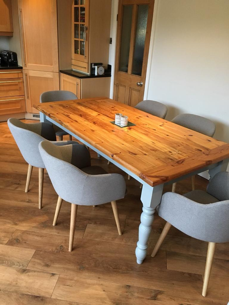 Large Pine Kitchen Dining Table With Turned Legs Painted In Manor House Grey Farrow Ball Eggshell