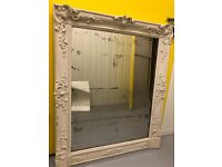 Antique French-style white mirror – shabby chic, ornate detailing – STUNNING! 42inx32in