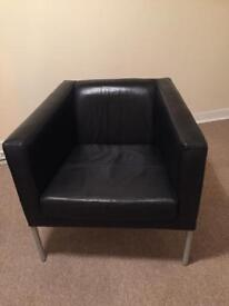 Leather Ikea Chairs. Black. Good condition. No rips or tears.
