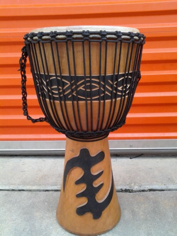 "SALE, LARGE 24"" Tall DEEP CARVED DJEMBE DRUM ~ GOD FIRST ~ M8 +BONUS"