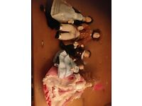 Dolls house miniature people: Father, Mother, Son, Daughter and Maid